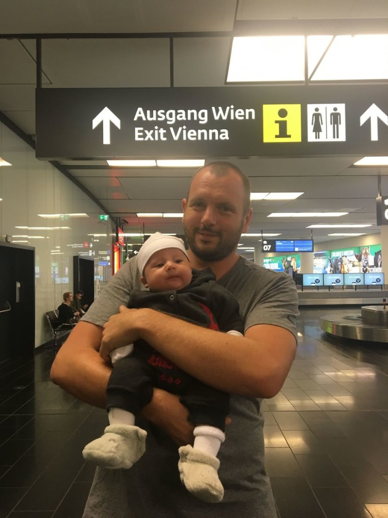 Anunft in Wien beim kurzen Zwischenstopp in Österreich